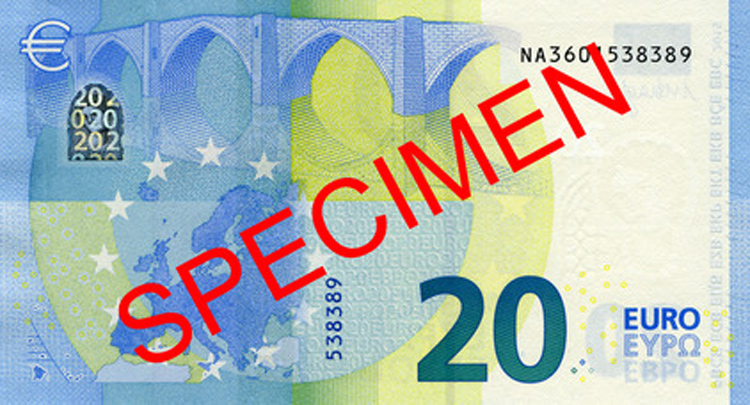 Der neue 20 Euro Schein (Rückseite)
