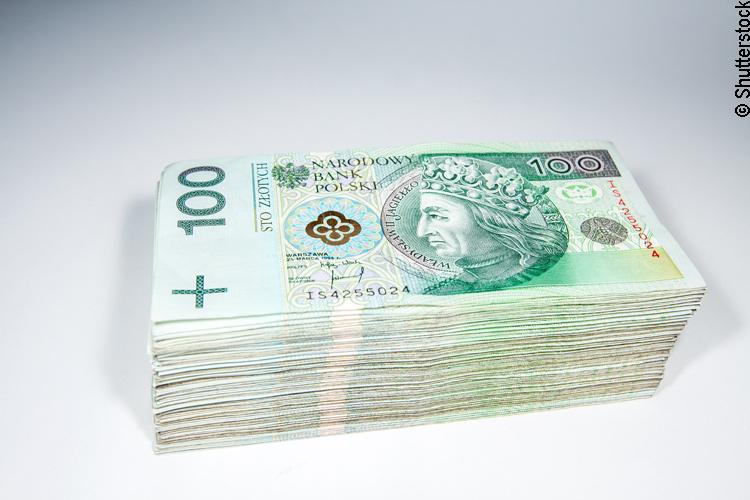 Bündel polnischer 100 Zloty Banknoten