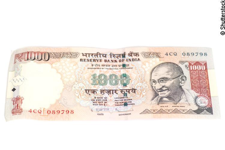 Indischer 1000 Rupien Geldschein