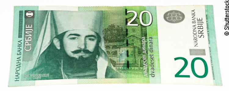 20 Dinar Geldschein aus Serbien