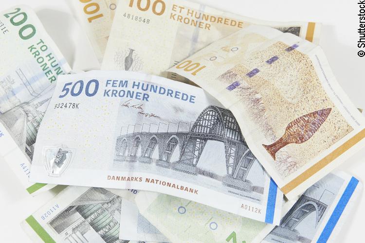 Dänische Kronen Banknoten
