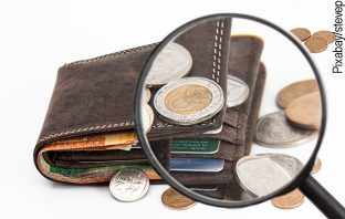 Zahlungsmittel in einer Brieftasche