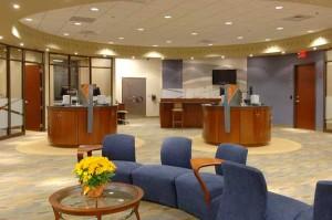 Bankfiliale der Zukunft Kassentresen