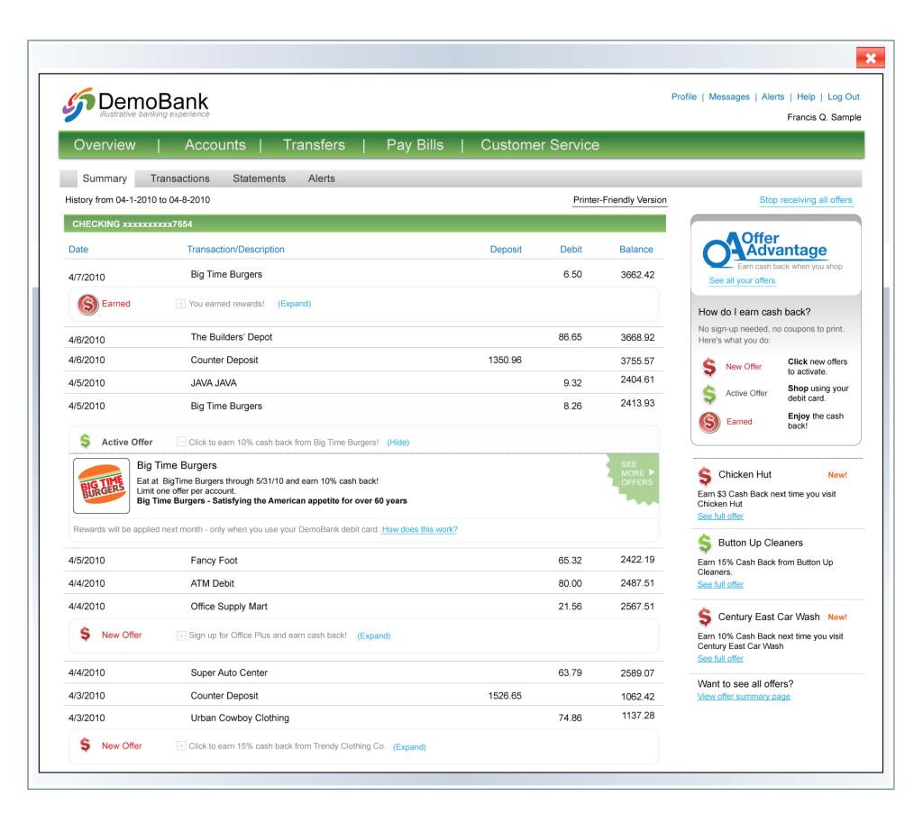 Gutscheine im Online Kontoauszug einer Bank