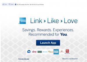 American Express Facebook App Link Like Love für die Social Media Kreditkarte