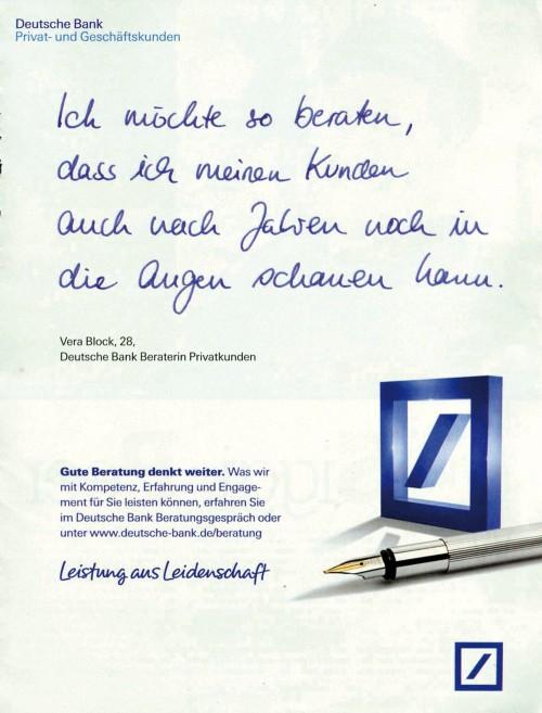 Wie die Deutsche Bank mit Werbemotiven Vertrauen aufbauen will