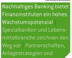 Nachhaltiges Banking mit Erfolgspotential – wichtiger Trend für Banken und Sparkassen