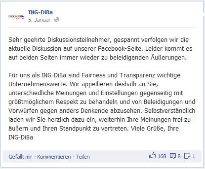 Shitstorm Statement der ING-DiBa