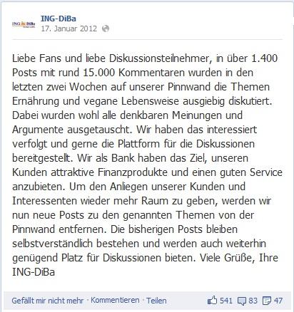 Social Media Shitstorm auf Facebook – Abschluss-Statement der ING-DiBa
