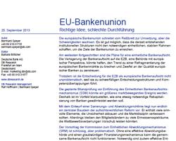 Über Idee und Durchführung der EU Bankenunion