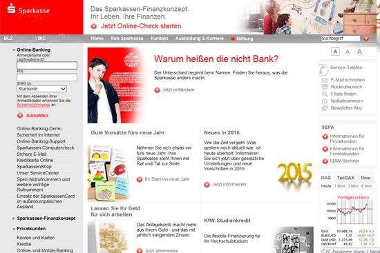 Unübersichtliche Homepage einer Sparkasse