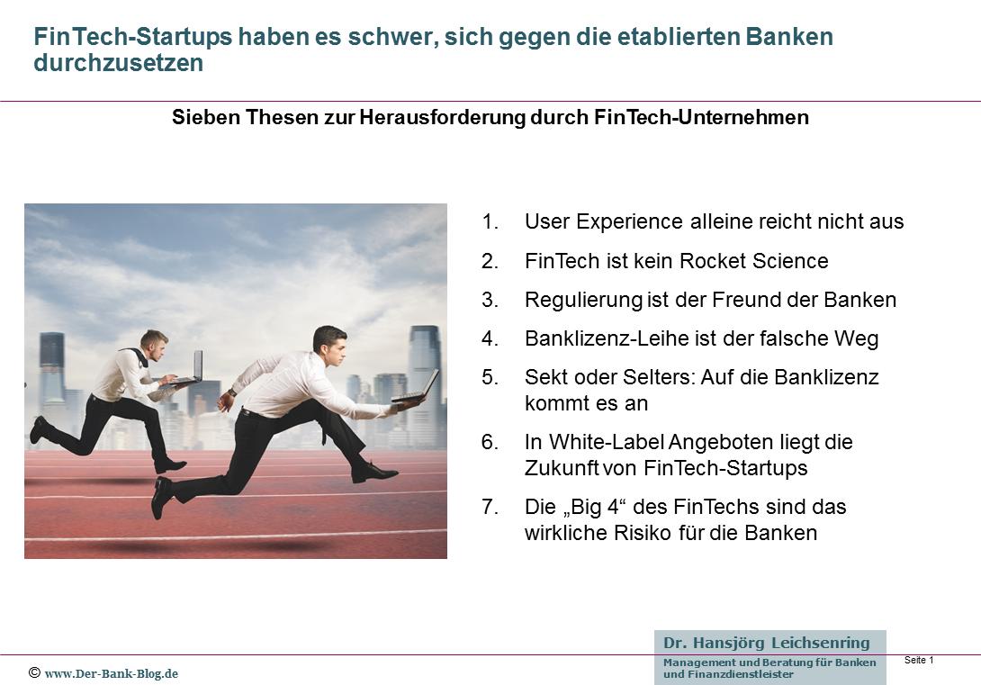 Sieben Thesen zur Herausforderung durch FinTech-Unternehmen