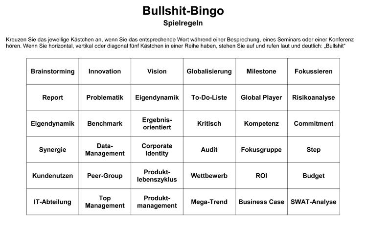 Bullshit Bingo Spielkarte