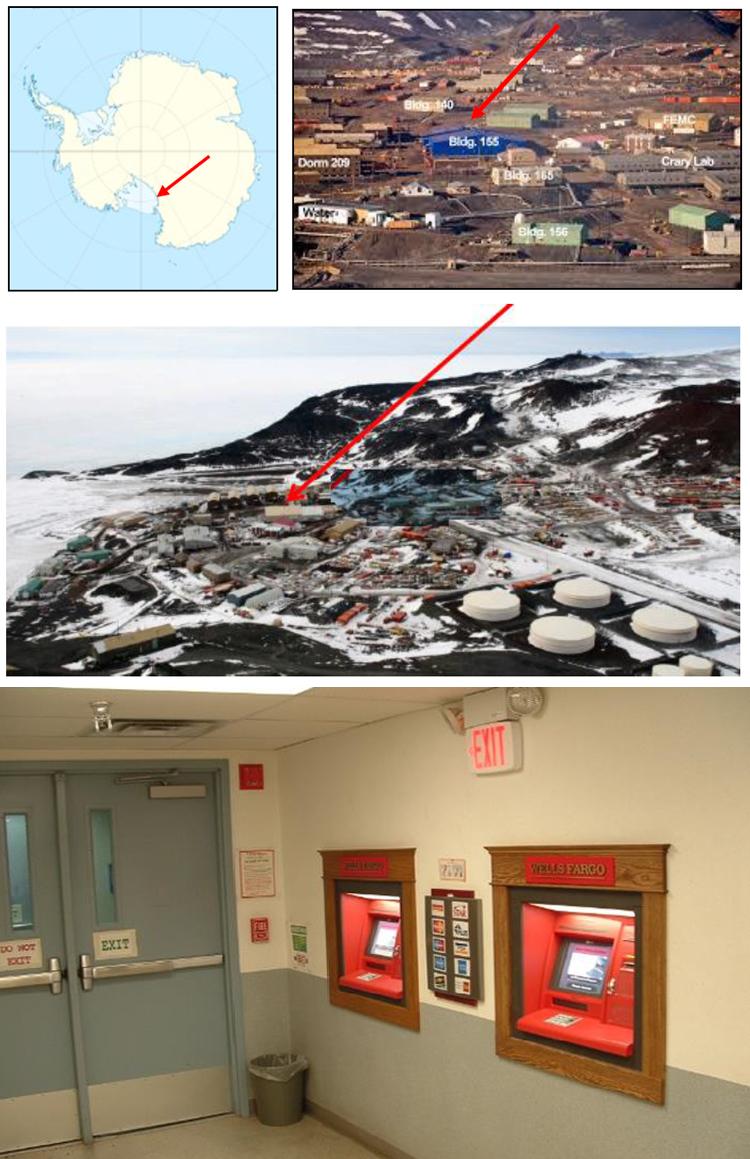 Zwei Geldautomaten in der Antarktis