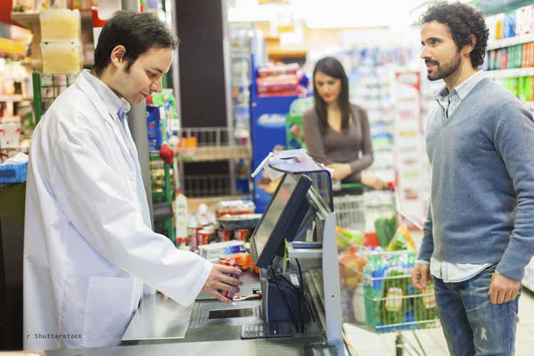Kontaktloses Bezahlen im Supermarkt