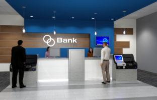 Schalter einer modernen Bankfiliale
