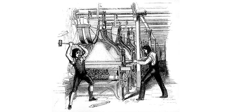 Arbeiter zerstören einen Webstuhl