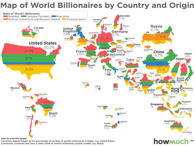 Infografik - Weltkarte der Milliardäre