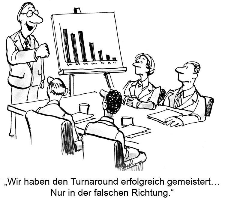 Erfolgreicher Turnaround - Cartoon