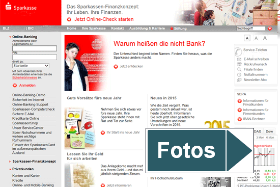 Webseite Sparkasse