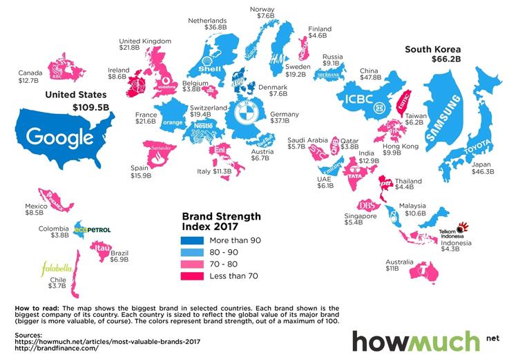 Landkarte wertvollste Marke 2017