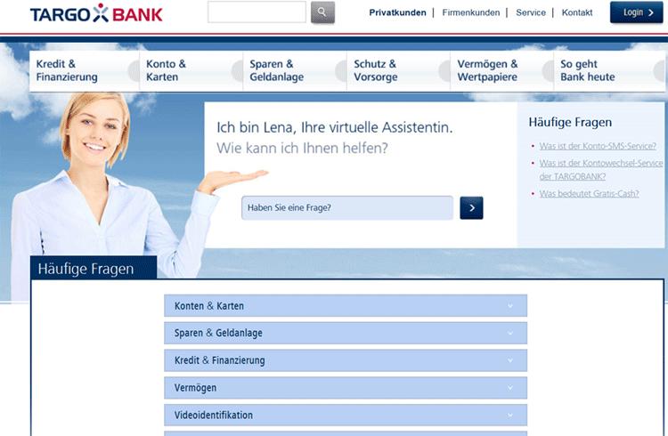 Chatbot und virtuelle Assistentin Lena der Targobank