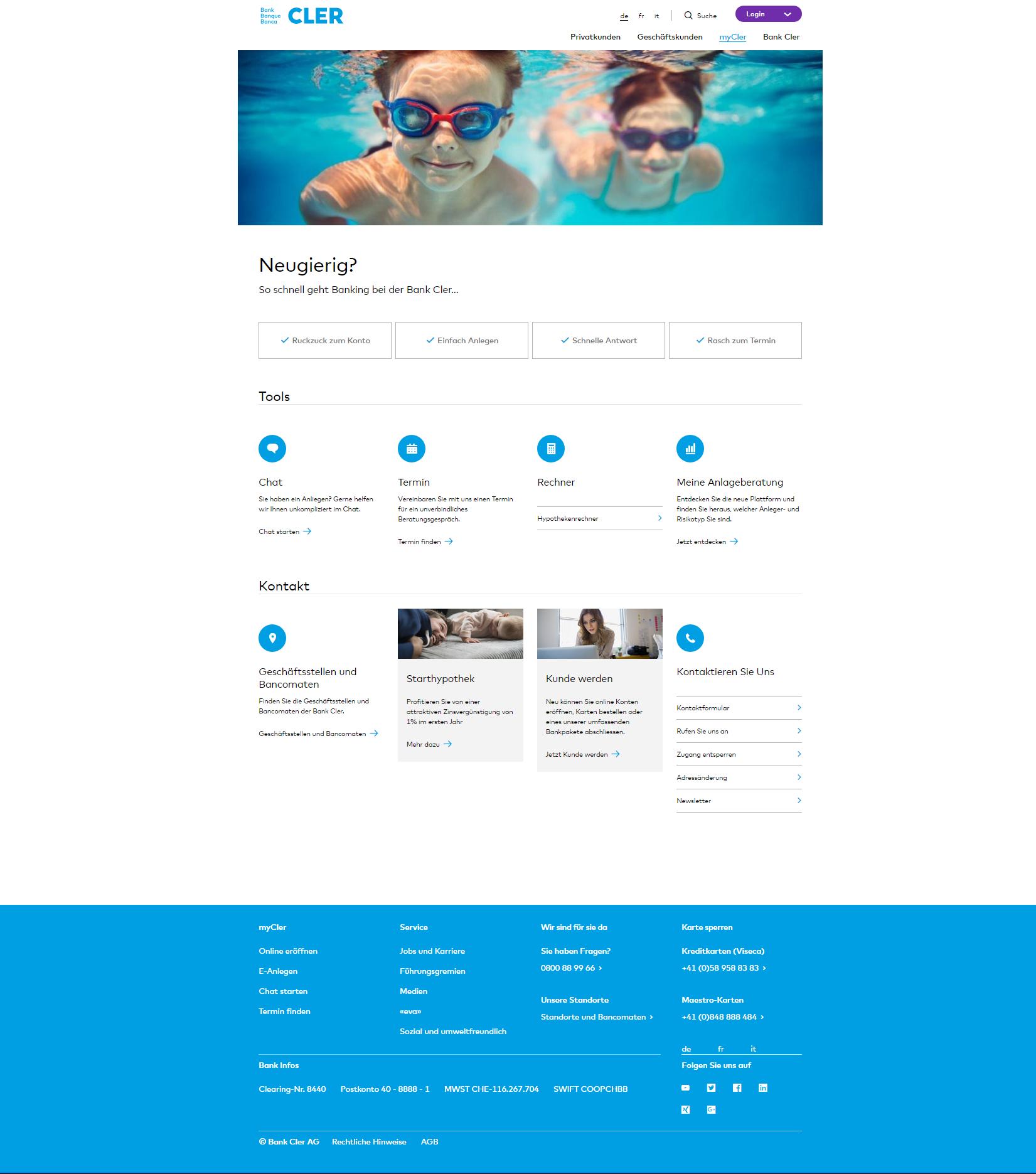 Startseite Neues Bank-Kundenportal