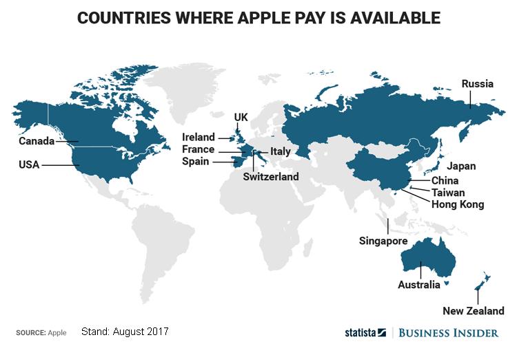 Geografische Verbreitung von Apple Pay