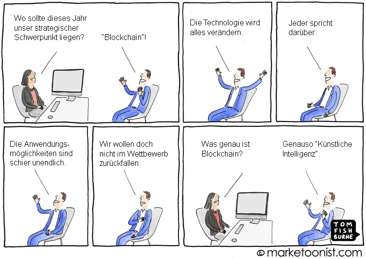 Cartoon: Der Blockchain Hype