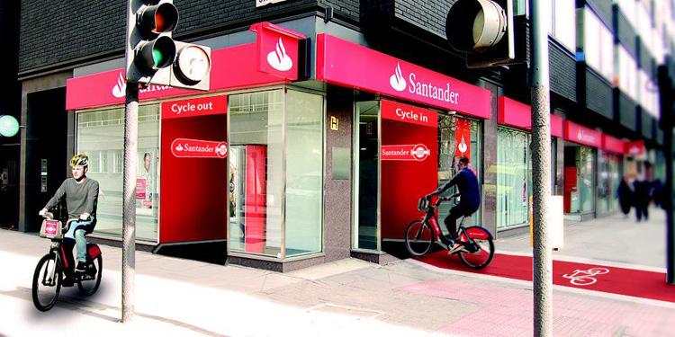 Santander Bankfiliale für Fahrradfahrer