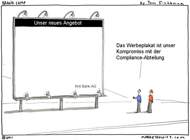 Cartoon: Bankwerbung und der Einfluss von Compliance