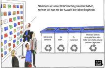 Cartoon: Auswahl von Ideen nach dem Brainstorming