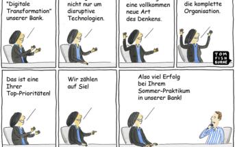 Cartoon: Digitale Transformation einer Bank als Aufgabe