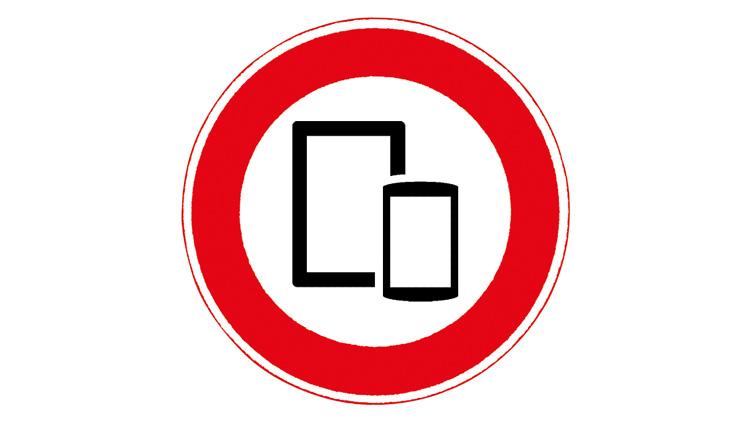 Verbotsschild für Smartphone und Tablets