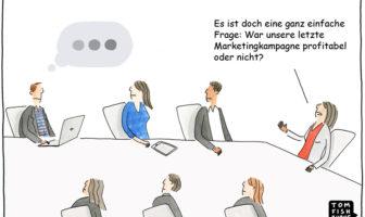 Cartoon: Der ROI von Marketingkampagnen
