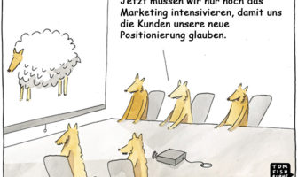 Cartoon: Rebranding bei Banken und Sparkassen