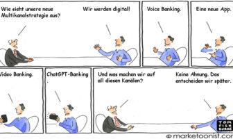 Cartoon: Eine neue digitale Multikanalstrategie im Banking