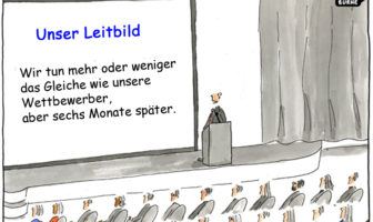 Cartoon: Typische Mission einer Bank