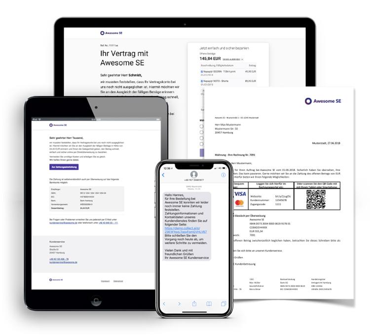 Kommunikationskanäle und Bezahlseite der collectAI-Plattform