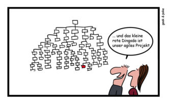 Cartoon: Agile Projektorganisation im Banking