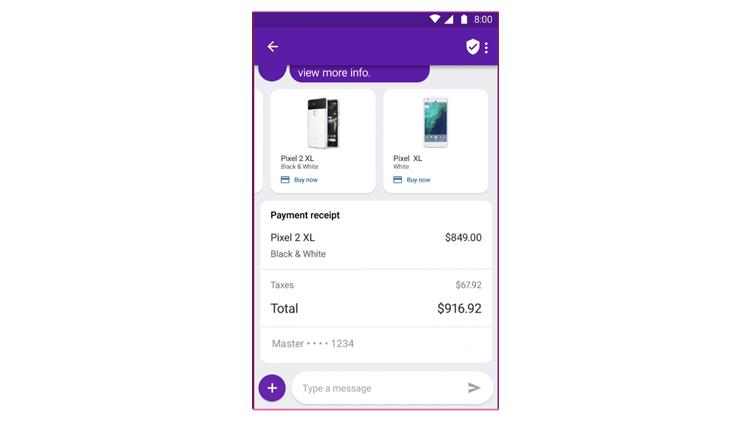 Bezahlen mit der hinterlegten Kreditkarte bei Google RCS
