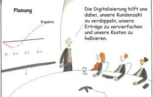 Cartoon: Erfolg für Banken durch Digitalisierung