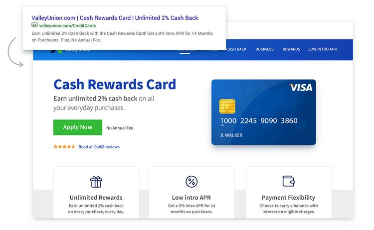 Anzeige und passendes Landing Page Botschaft einer Bank