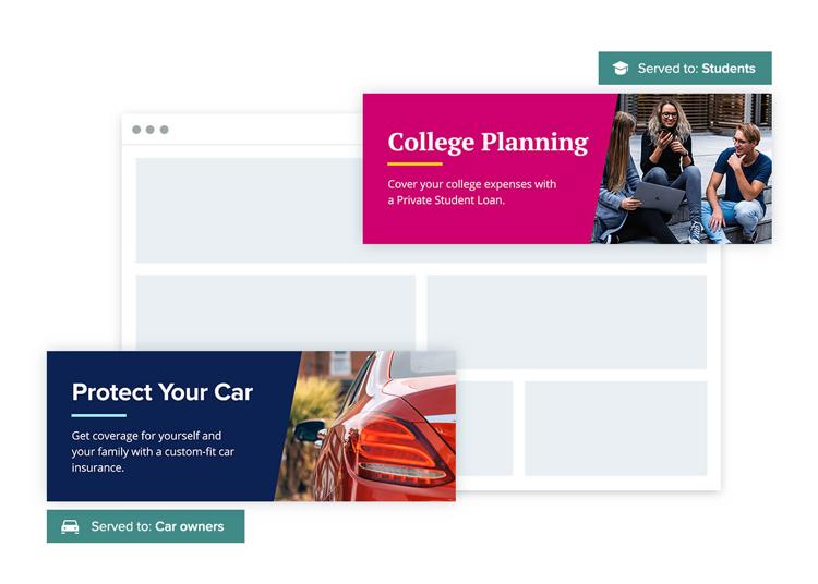 Personalisierte Anzeigen einer Bank Landing Page