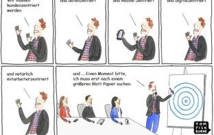 Cartoon: Zentrierungs-Strategien von Banken und Sparkassen