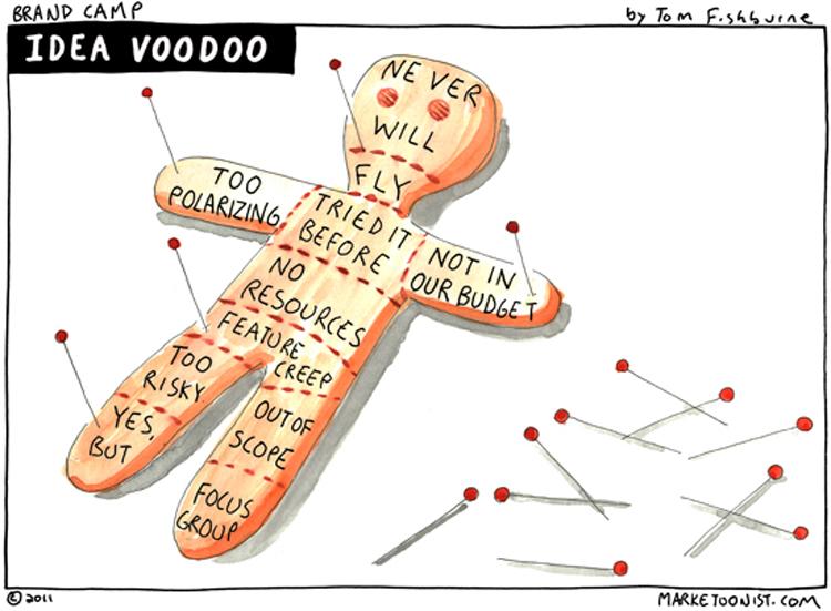 Cartoon: Banken und die Gefahren von Innovations-Voodoo
