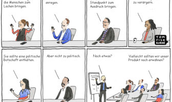 Cartoon: Banken, Sparkassen und der Inhalt einer neuen Werbekampagne