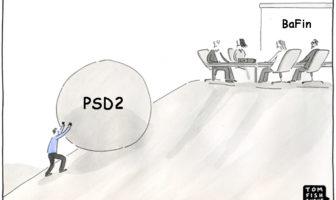 Cartoon: Umsetzung von PSD2 wird zur Sisyphus-Aufgabe