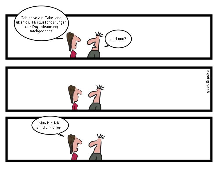 Cartoon: Digitalisierung stellt das Banking vor neue Herausforderungen