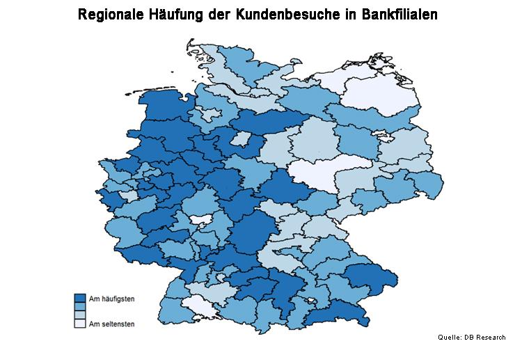 Regionale Häufigkeit der Kundenbesuche in Bankfilialen